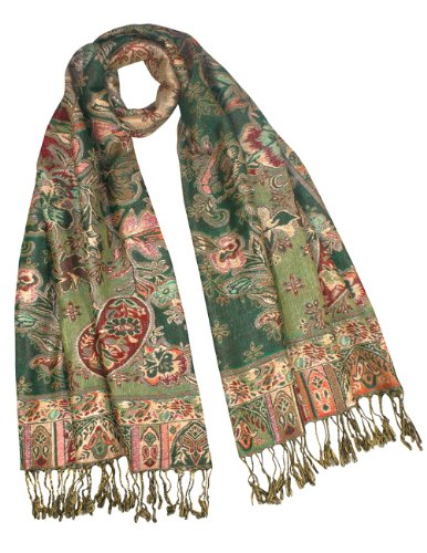 - Rayon Metallic Paisley Flower Garden Two-Sided Reversible Scarf - Olive Green