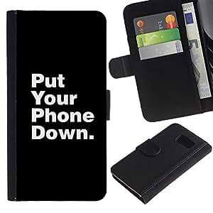 For Samsung Galaxy S6 Case , Phone Down Life Focus Quote - la tarjeta de Crédito Slots PU Funda de cuero Monedero caso cubierta de piel