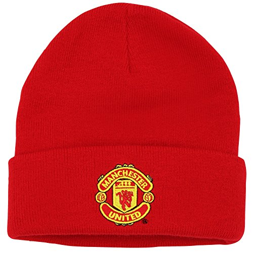 (Manchester United Official Soccer Merchandise Adult FC Core Winter Beanie Hat (One Size) (Red) )