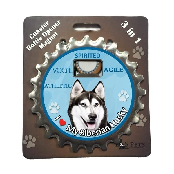 E&S Pets Siberian Husky Bottle Opener, Coaster and Magnet 1