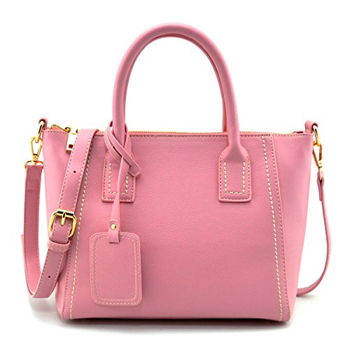 Mn&Sue Boutique Reversible Pebbled PU Leather Top Handle Designer Tote Handbag Office Lady Satchel Purse (Pink Ladies Bowling Bag)