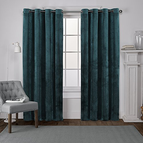 Exclusive Home Velvet Heavyweight Window Curtain Panel Pair with Grommet Top, 54x84, Teal, 2 Piece