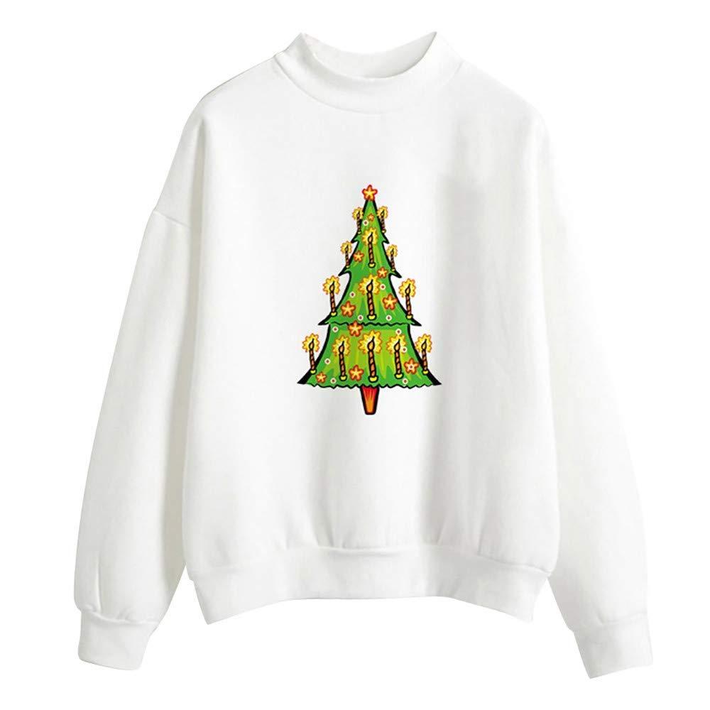 LYLIFE Womens Casual Long Sleeve Christmas Print Sweatshirt O-Neck Pullover