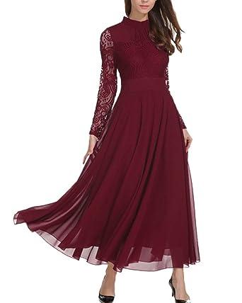 Amazon.com  Aofur Women s Long Sleeve Chiffon Maxi Dresses Casual ... 3efc29ba0f