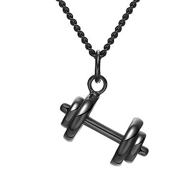 jajafook Unisex Fitness Levantamiento de pesas gimnasio mancuernas de acero inoxidable charms collar con colgante, rojizo: Amazon.es: Joyería