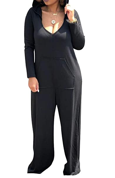 cc331d97292 Amazon.com  M S W Womens Low-Cut Deep V-Neck Hoodies Wide Leg Palazzo Pants Sexy  Jumpsuits Rompers  Clothing