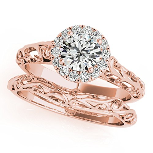 (0.50 Carat Diamond Engagement Bridal Ring Set 14K Solid Rose Gold)
