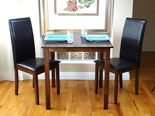 3 Pc Dining Room Dinette Kitchen Set Square Table and 2 Fallabella Chairs Dark Walnut