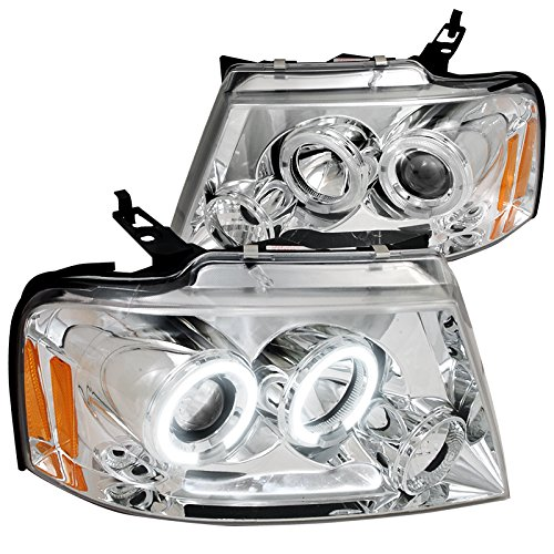 Spec-D Tuning 2LHP-F15004-TM Ford F150 Chrome Clear Led Halo Projector (Projector Chrome Clear Headlight)