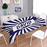 Anmaseven David Dinner Picnic Table Cloth Boys Birthday Theme Retro Style Graphic Letters on Grungy Navy Color Stripes Waterproof Table Cover for Kitchen Navy Blue and White Size: W36 x L36