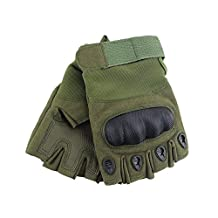 Men's Fingerless Hard Knuckle Military Tactical Gloves Outdoor Sports Green S