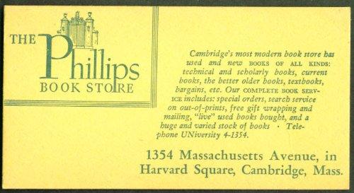 Phillips Book Store Cambridge MA blotter - Cambridge Stores