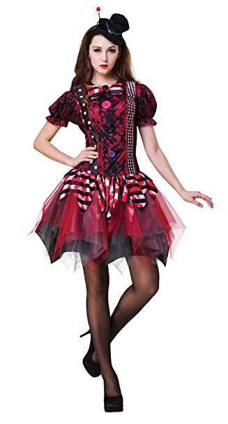 Ladies Halloween Fancy Dress Horror Clown Costume Circus Tricksterina Outfit New  sc 1 st  Amazon.com & Amazon.com: Ladies Halloween Fancy Dress Horror Clown Costume Circus ...