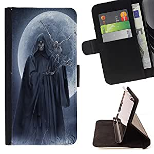 Pattern Queen - Skull Devil Diablo Extraterrestrial - FOR Samsung Galaxy S4 Mini i9190 - Funda de cuero ranuras para tarjetas de credito de la cubierta Flio tarjeta de la carpeta del tiron