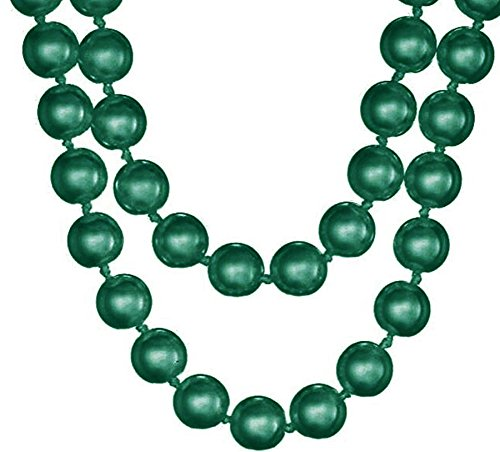 Green Glass Bead Necklace - Wiipu Flapper Long Faux Pearl Glass Bead 58