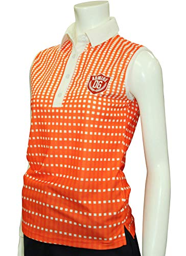 汚染スキャンダル啓発する7454 ORG グラデーションチェック柄ノースリーブポロシャツ Mサイズ オレンジ デルソル