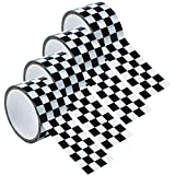 Resinta 4 Rolls and 65 Yards Checkered Tape Black and White Checkered Flag Tape Checkerboard Tape Decorations, 1.8 Inches by 16.25 Yards per Roll