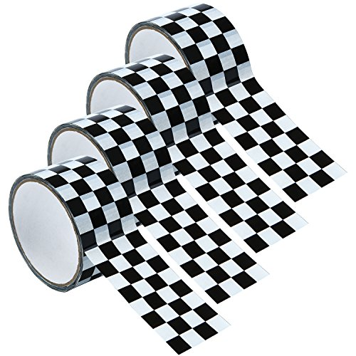 Resinta 4 Rolls and 65 Yards Checkered Tape Black and White Checkered Flag Tape Checkerboard Tape Decorations, 1.8 Inches by 16.25 Yards per Roll by Resinta