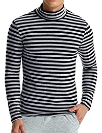 Mens Striped Sweatshirt, Casual Fashion Long Sleeve Turtleneck Knitted Tops