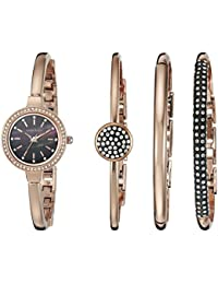 Women's AK/2240RGST Swarovski Crystal-Accented Rose Gold-Tone Bangle Watch and Bracelet Set