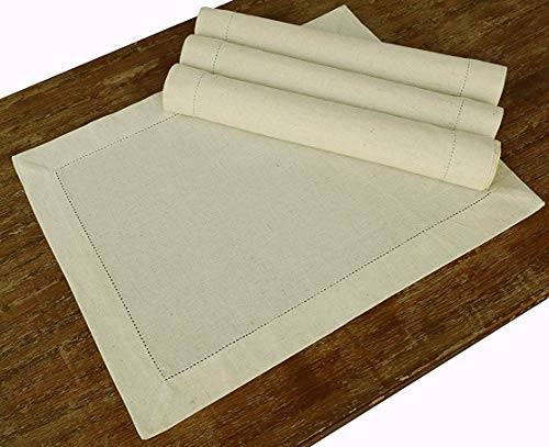 PACK of 4, Flax Cotton Designer Hemstitched Placemats 14 Inches by 19 Inches, Natural Color by Linen Clubs - Premium Linen Look, Flax Cotton Blend - 100% Cellulose Natural Fiber