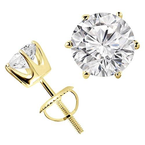 5/8Outlet-Sterling Solitaire rond diamant Boucles d'oreilles clous en or jaune 14K-md160018