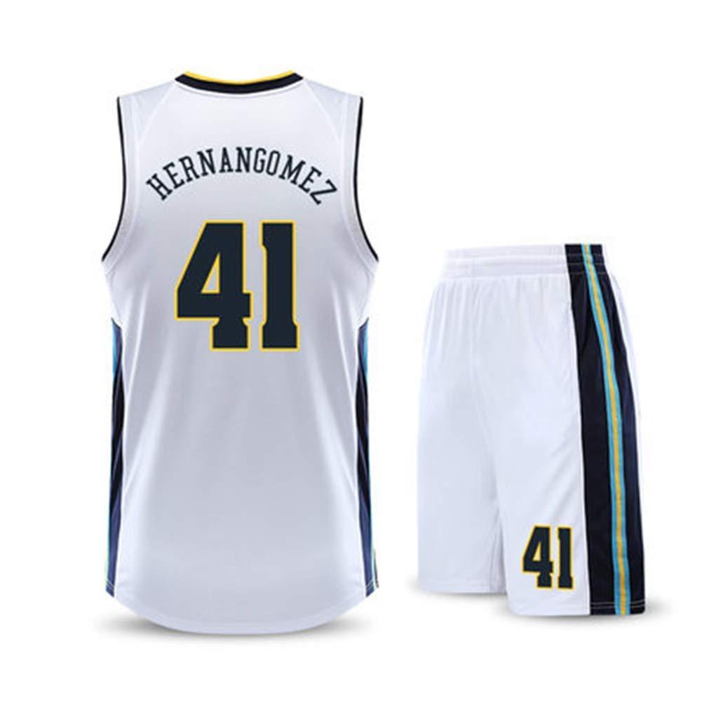 Jerseys De Baloncesto ,Blanco,2XL:170~175cm Denver Nuggets # 41 Hernangomez All-Star Jersey Conjunto De Traje De Baloncesto Conjunto Sin Mangas Traje De Entrenamiento Transpirable Tops + Shorts