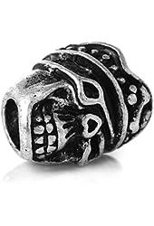 Halloween Pirate Skull Charm Bead for European Snake Chain Charm Bracelet