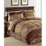 Leopard, Zebra Print, Jungle, Safari Twin Comforter Set (6 Piece Bed In A Bag) + HOMEMADE WAX MELT