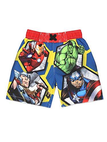 Avengers Superhero Boys Swim Trunks Swimwear (Toddler/Little Kid/Big Kid) (2T, Blue/Multi)