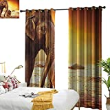 longbuyer Zoo Blackout Draperies for Bedroom Mother and Baby Elephant Family in Kenya Safari Landscape Environment W84 x L84,Suitable for Bedroom Living Room Study, etc.