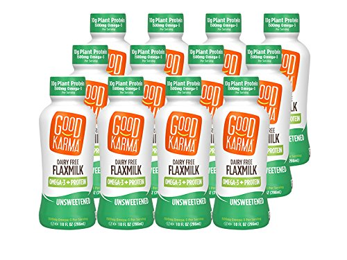 Good Karma Flaxmilk Unsweetened 10 oz. Bottle (Shelf Stable 12 Pack) A Creamy Dairy Free Milk Alternative With Plant-Based Protein That Is Vegan Non-GMO Nut Free and Soy Free and Gluten-Free