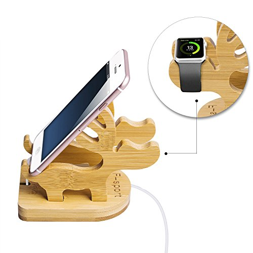 Creative Cute Natural Wooden cell Phone Stand/ Holder For Iphone Ipad Samsung Phone Tablet Plate PC (stand deer)