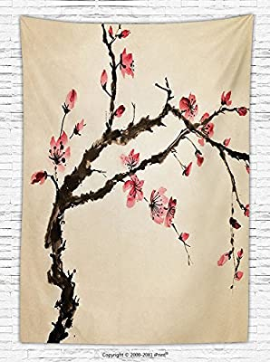 Japanese Decor Fleece Throw Blanket Traditional Chinese Paint Style of Figural Tree with Highly Detail Brushstroke Effects Throw Blanket for es Pink Brown