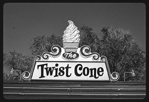 - 8 x 12 BW Photo of: Twist Cone ice cream sign, Route 281, Aberdeen, South Dakota 1987 Roadside America Margolies, John, photographer 76r