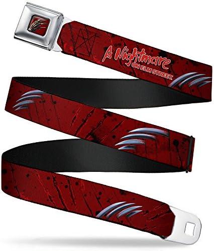 Buckle-Down Seatbelt Belt - A NIGHTMARE ON ELM STREETFreddy`s Hand Scratching RedsBlackGray - 1.5 Wide / Buckle-Down Seatbelt Belt - A NIGHTMARE ON ELM STREETFreddy`s Hand Scratching RedsBlackGray - 1.5 Wide