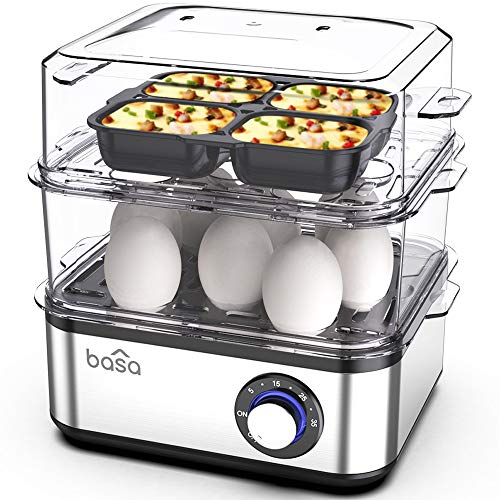 BASA Egg Cooker, 2018 New Multifunctional Electric Hard Boiled Egg Maker, 16 Egg Large Capacity Rapid Egg Boiler Steamer With Automatic Shut Off for Hard Boiled Eggs, Poached Eggs, Steamed Food