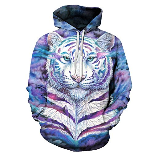 White Tiger colorful 3D Print Unisex Hooded Sweatshirt Couple Hoodies Unisex Pullover Hoodie Warm/Casual/Sport Sleeve With Pocket - Discount Uni Student