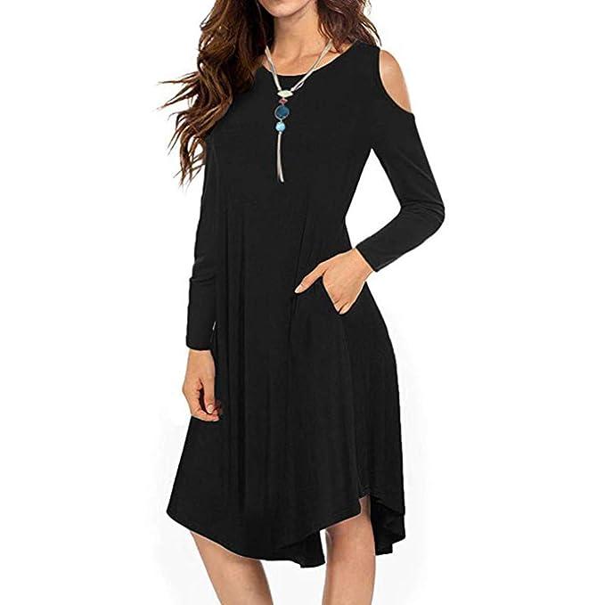 c467328d1ec Ulanda Women s Cold Shoulder Casual Midi Dresses Loose Long Sleeve ...