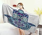 Anniutwo Hamsa,Baby Bath Towel,Eastern Culture Belief Turkish Spiritual Symbol in Retro Arabian Style,Print Wrap Towels,Blue Pale Blue Purple Size: W 10'' x L 39.5''
