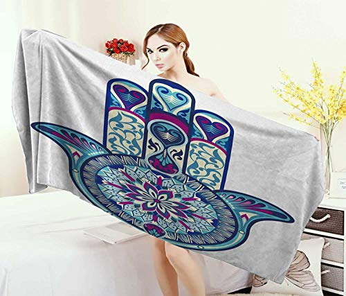 Anniutwo Hamsa,Baby Bath Towel,Eastern Culture Belief Turkish Spiritual Symbol in Retro Arabian Style,Print Wrap Towels,Blue Pale Blue Purple Size: W 10'' x L 39.5'' by Anniutwo