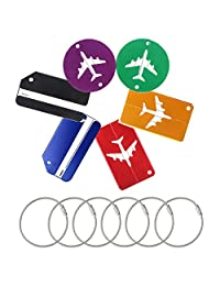 Suitcase Baggage Tags, 6 Pack QMAY Travel ID Labels Tag, Suitcase Tag Labels with Key Ring for Metal Luggage Tags (6 Colors)