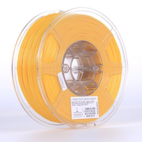 eSUN 3D 1.75mm Solid Yellow PETG 3D Printer Filament 1KG Spool (2.2lbs), 1.75mm Solid Opaque Yellow