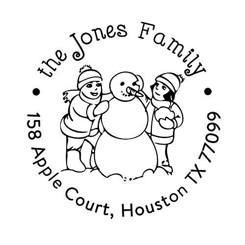 Family Snowglobe - Father Christmas Stamp Personalized Snow Globe Design Family Address Stamps Custom Self Inking Rubber Stamper