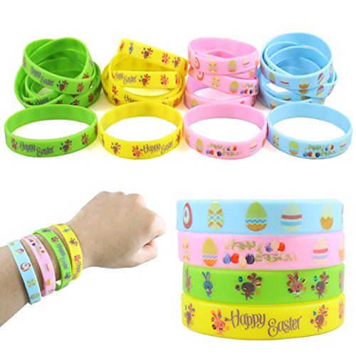 24 Easter Rubber Bracelets For Kids - Durable, Brightly Colored Silicone Bracelets Provide Hours Of Fun - Motivational Rubber Wristbands Are Perfect For Easter Egg Hunts And Kids Party Favors -