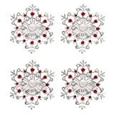 C&L Accessories Napkin Rings Set of 4, Snowflake Christmas Napkin Holders for Wedding Banquet Party Dinner Christmas Hotel Kitchen Table Decoration
