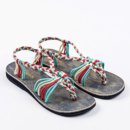 Offwhite Red Summer Seashell by Women Plaka Sandals Turquoise for wzPqnU8Z