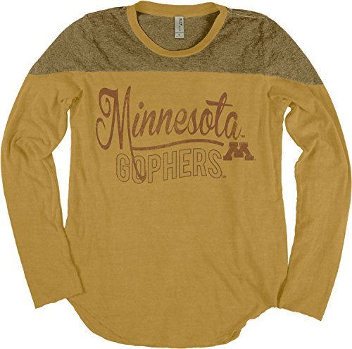 NCAA Minnesota Golden Gophers Women's Dyed Long Sleeve Yoke Tee, Medium, Mustard