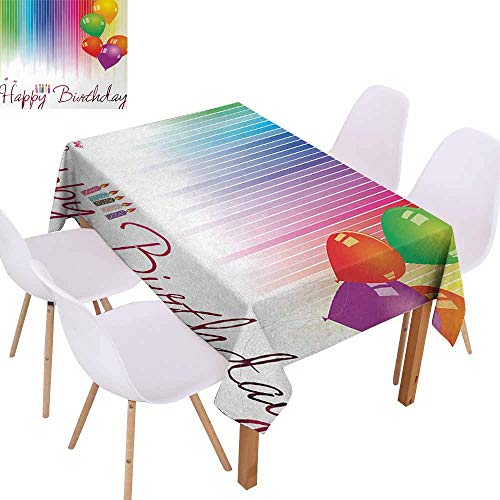 UHOO2018 Birthday,Decorative Tablecloth,Rainbow Colored Striped Backdrop Balloons Stylized Lettering Candles Artwork Prit,for Weddings, Banquets, or - Drop Danish Candles