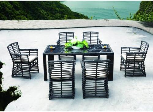Sydney-Juego de mesa y sillas de jardín resina trenzada, 7 piezas, color beige: Amazon.es: Jardín